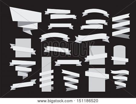 ribbon banner grayscale set web design elements vector
