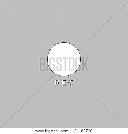 Rec Simple line vector button. Thin line illustration icon. White outline symbol on grey background