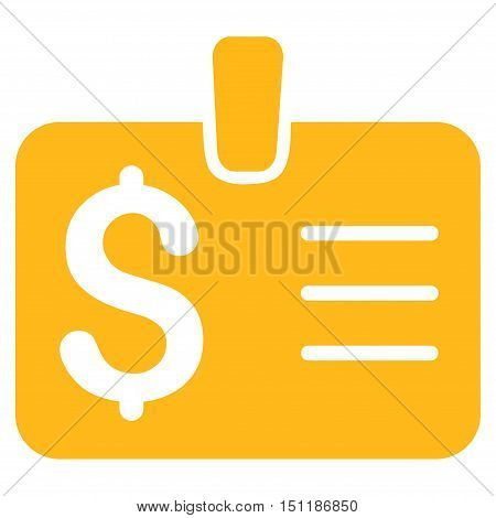 Dollar Badge icon. Glyph style is flat iconic symbol with rounded angles, yellow color, white background.
