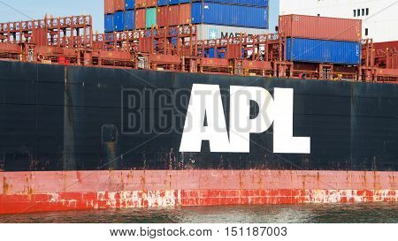 Oakland CA - October 07 2016: APL Cargo Ship KOREA docked at the Port of Oakland. American President Lines (APL) is the worlds seventh largest container transportation and shipping company.