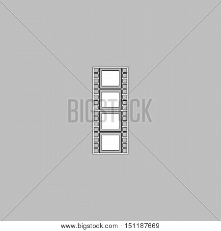 Film strip Simple line vector button. Thin line illustration icon. White outline symbol on grey background