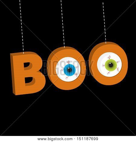 Hanging 3D word BOO text with eyeballs. Dash line thread. Happy Halloween. Greeting card. Flat design. Black background. Vector illustration