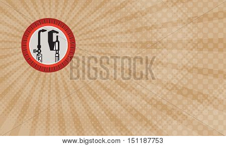 Business card showing Illustration of a welding torch and caliper tools set inside circle with notches done in retro style.