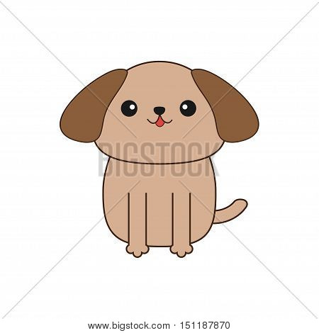 Little glamour tan Shih Tzu dog. Cute cartoon character. Pet baby collection. Isolated. White background. Flat design Vector illustration