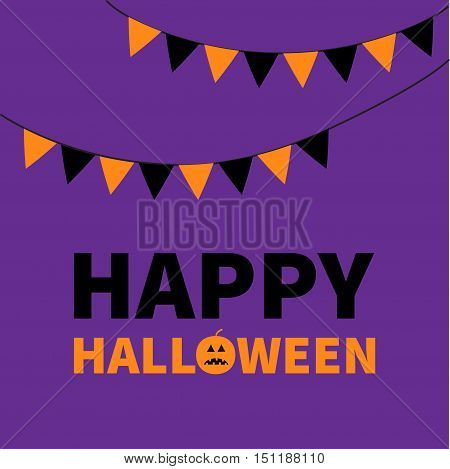 Triangle paper flags. Happy Halloween Lettering text banner with sad orange pumpkin silhouette. Colorful flag set hanging on rope. Party time. Greeting card. Flat design. Violet baby background Vector