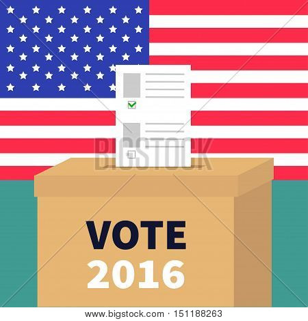 Ballot Voting box with paper blank bulletin concept. Polling station. President election day Vote 2016. American flag on the wall. Isolated Green background Flat design Card. Vector illustration