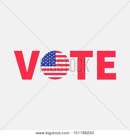 Vote red text Blue badge button icon with American flag Star and strip President election day. Voting concept. Isolated White background Card Flat design Vector illustration