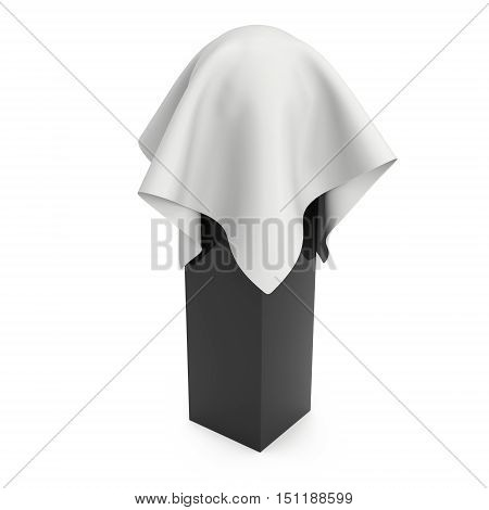 Presentation pedestal covered with white cloth. Sphere object cover by cloth collection. 3d render isolated on white.