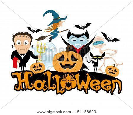 Witch, monster, mummy, ghost, vampire, bats, pumpkin and black cat.