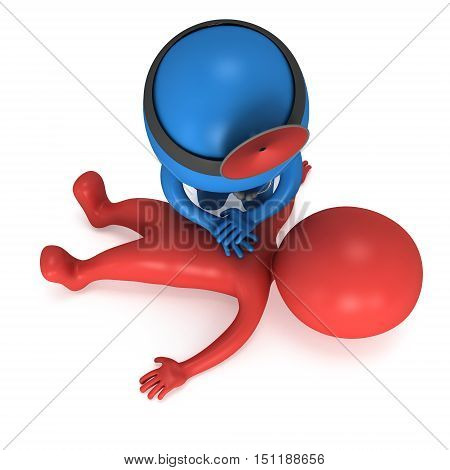 Doctor doing CPR First Aid. 3d render CPR training concept on white background. Illustration with red and blue men