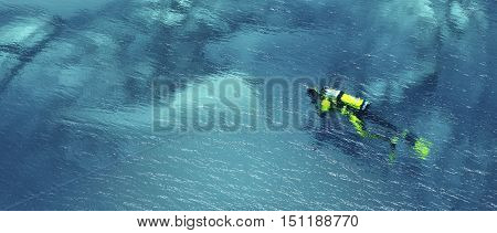 Man wearing a divingsuit and swimming underwater in a tropical sea. This is a 3d render illustration