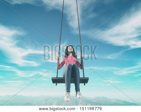 A girl on a huge swing to the sky. This a is 3d render illustration