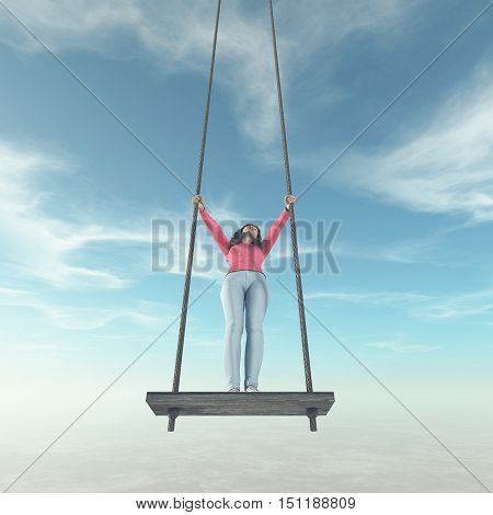 Girl stand up on a swing to the sky. This a is 3d render illustration