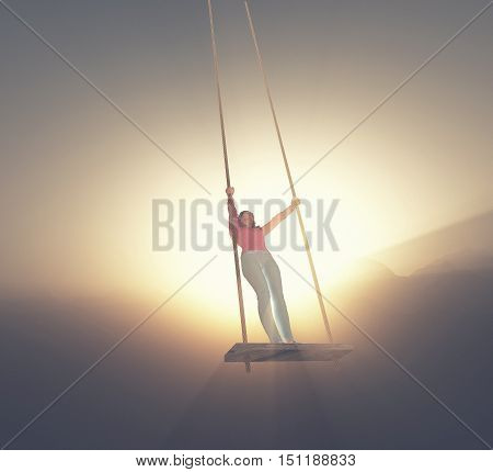 Girl tands up on a swing to the sky at sunset. This a is 3d render illustration