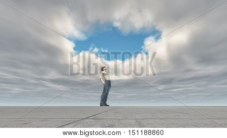 Man standing looking at the sky through a hole in the clouds. This is a 3d render illustration