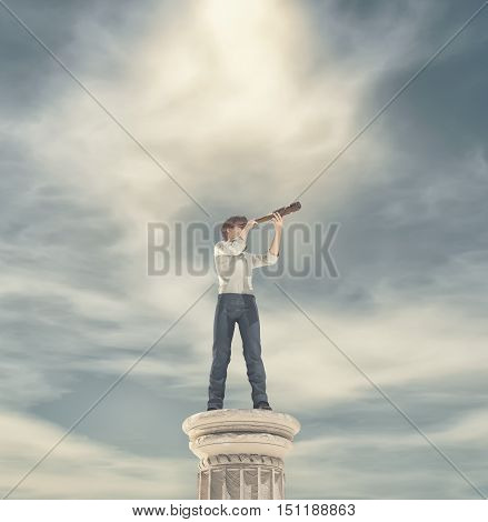 Businessman standing on a column and looking with binoculars. This is a 3d render illustration