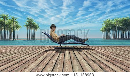 Man using laptop on a wooden ground at the beach of island among the palms. This is a 3d render illustration