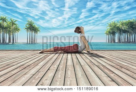 Woman doing yoga session on a wooden pontoon at the tropical beach. This is a 3d render illustration