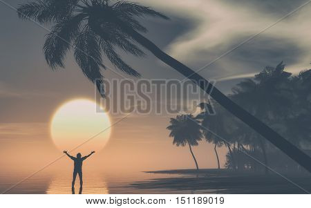Man with hands raised at sunset on tropical island . This is a 3d render illustration