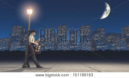 Man playing saxophone at the heart of the night in the city. This is a 3d render illustration
