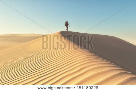 Man exploring the deserts landscape - travel. This is a 3d render illustration.