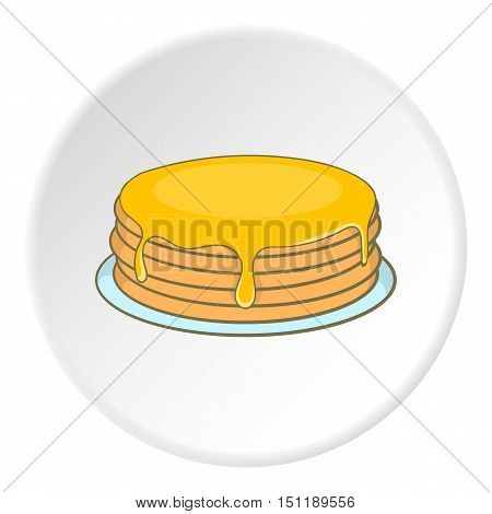 A stack of pancakes with honey icon. artoon illustration of stack of pancakes vector icon for web