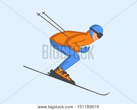 Vector Illustration Of Skier Speeding Down Slope.