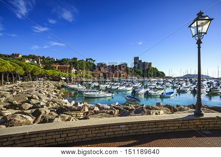 Lerici colorful village. Harbor sea bay boats fortress and houses. Five lands Cinque Terre Ligury Italy Europe.