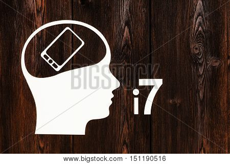 Paper head with smartphone inside, model 7. Mobile phone concept. Abstract conceptual image