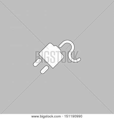 Power cord Simple line vector button. Thin line illustration icon. White outline symbol on grey background