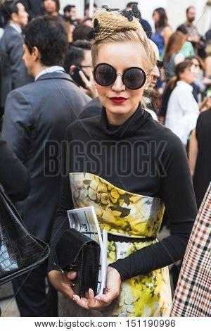 Fashionable Woman During Milan Fashion Week