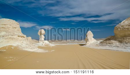 Abstract nature sculptures in White desert Sahara Egypt