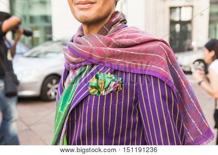 Detail Of A Fashionable Man During Milan Fashion Week