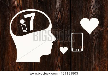 Paper head with smartphone model 7 inside. Mobile phone concept. Abstract conceptual image