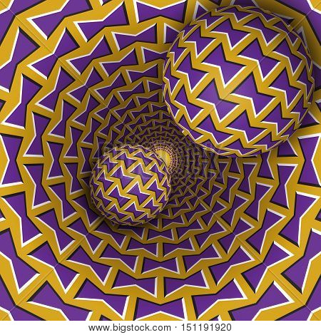 Optical illusion illustration. Two balls are moving on rotating funnel. Purple golden bows pattern objects. Abstract fantasy in a surreal style.