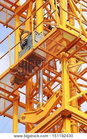 Hydraulic Jacks of Tower Crane Close up