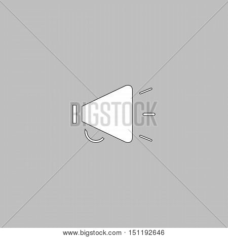 loudspeaker Simple line vector button. Thin line illustration icon. White outline symbol on grey background
