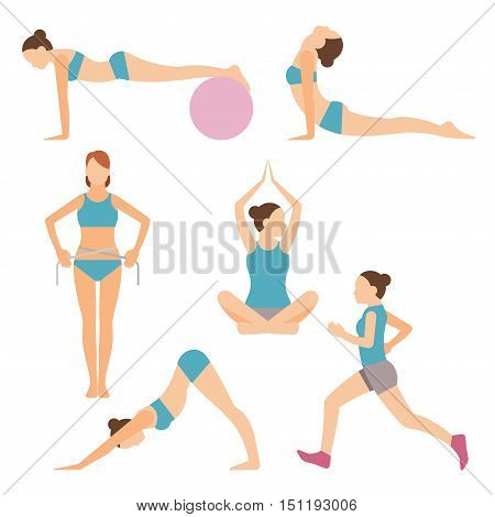 Set of colored vector icons of people exercising at the gym and fitness icons with weight lifting running jogging yoga and weight loss measurement