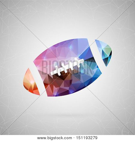 Abstract creative concept vector icon of rugby ball. For web and mobile content isolated on background, unusual template design, flat silhouette object and social media image, triangle art origami.