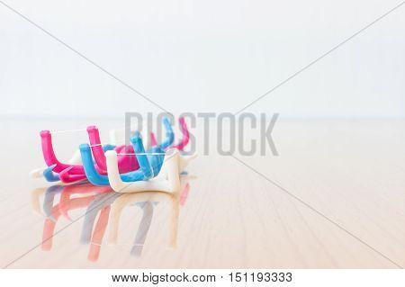 Dental Floss On Wooden Background