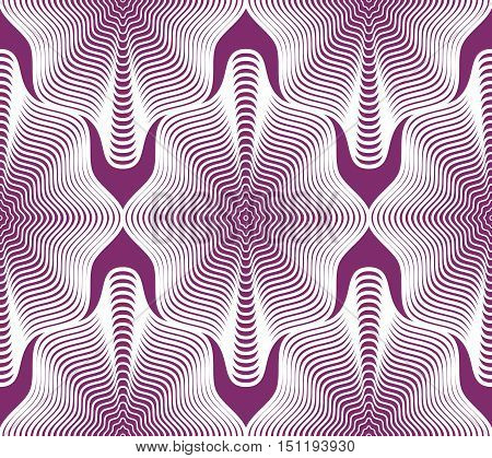 Purple vector ornamental pattern seamless art background decorated with white lines best for graphic and web design.