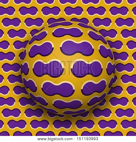 Ball rolls along surface. Abstract vector optical illusion illustration. Purple clouds on golden pattern motion background. Tile of seamless wallpaper.