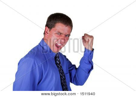 Professional Man Blue Shirt Black Tie Celebrating Clasped Fist Shouting