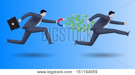 Debt collector business concept. Confident businessman in business suit with magnet in one hand and case in other chases another businessman and pulls money out of him.