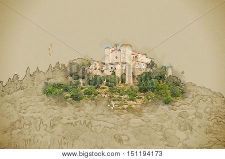 Pilgrimage church of Sant Salvador on green hill in Arta village, Mallorca island, Spain. Modern painting, background illustration.