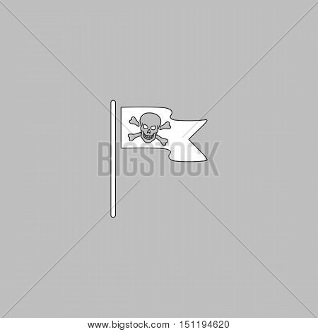 Jolly Roger Simple line vector button. Thin line illustration icon. White outline symbol on grey background