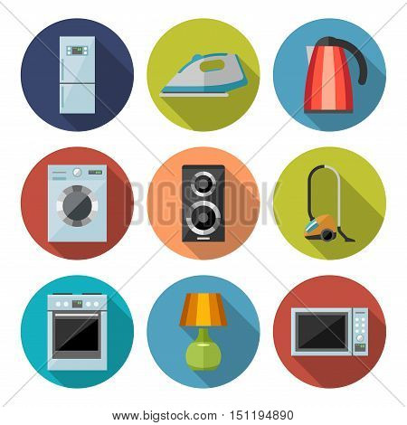 Set of household appliances flat icons on colorful round web buttons with a washing machine stove fridge speaker iron microwave lamp television kettle