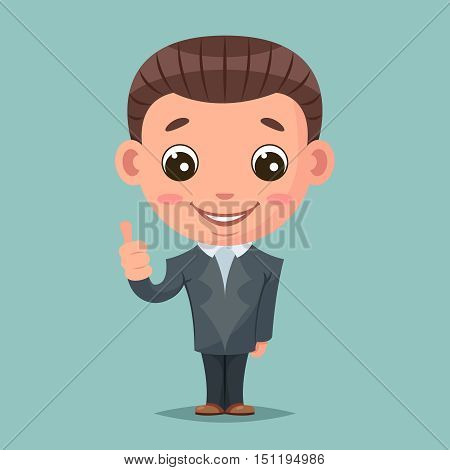 Like thumb up businessman mascot happy support approval design vector illustration