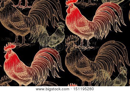Roosters on a black background. Vector seamless pattern. Illustration for calendars paper wallpaper textile gift wrap fabric and clothes. Gold foil and red. Chinese new year 2017.