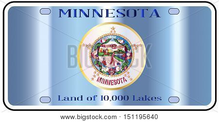 Minnesota state license plate in the colors of the state flag with the flag icons over a white background